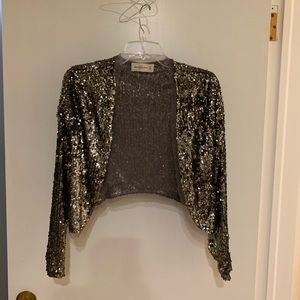 Abercrombie & Fitch silver sequined Jacket Xs EUC